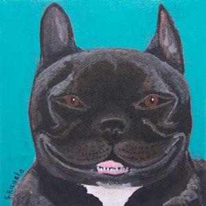 Black English Bulldog Original Acrylic Painting