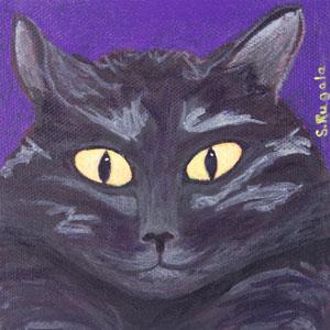 Moon Eyes Black Cat Original Acrylic Painting