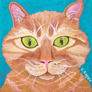 Wonder Cat, Yellow Tabby Cat Original Acrylic Painting
