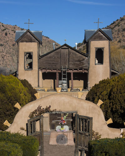 photograph of the Sanctuario de Chimayo,  Church in Chimayo New Mexico